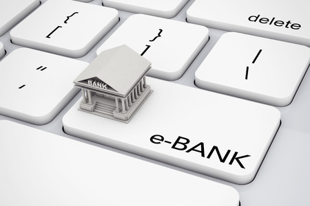 financial institutions: Bank Building over Computer Keyboard with e-Bank Sign extreme closeup. 3d Rendering.