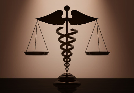 trial balance: Medical Caduceus Symbol as Scales with backlight over Wall in dark room. 3d Rendering Stock Photo
