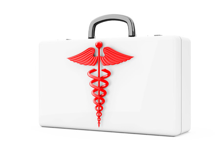 a snake in a bag: Red Caduceus Symbol in front of First Aid Kit Case on a white background. 3d Rendering