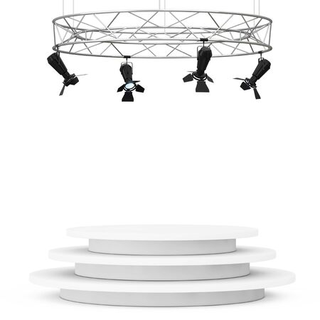 prestige: Metal Modern Stage Spotlight Construction with Podium on a white background. 3d Rendering