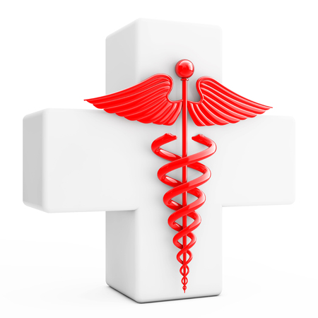 esculapio: Red Caduceus Symbol  in front of White Cross on a white background. 3d Rendering