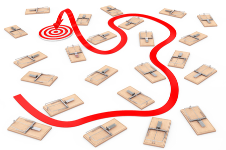 Dangerous Way to Target Concept. Arrow Way to Target through Many Wooden Mousetraps on a white background. 3d Rendering.