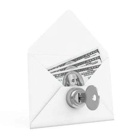 keylock: Security Concept. Money in Envelope with Key and Keylock on a white background. 3d Rendering.