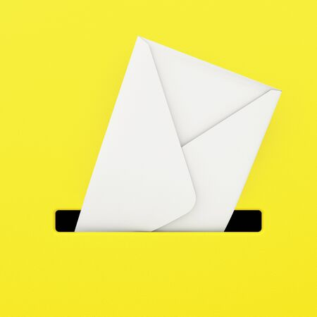 mail slot: White Envelope in Yellow Mailbox extreme closeup. 3d Rendering. Stock Photo