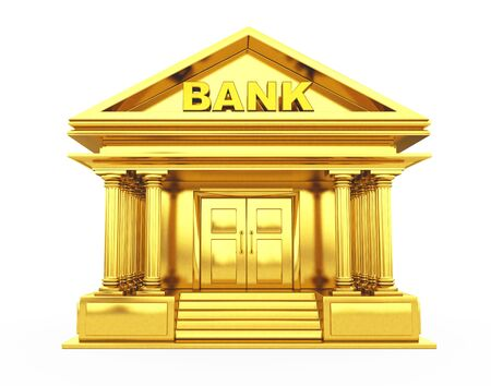 Golden Bank Building on a white background. 3d Rendering.