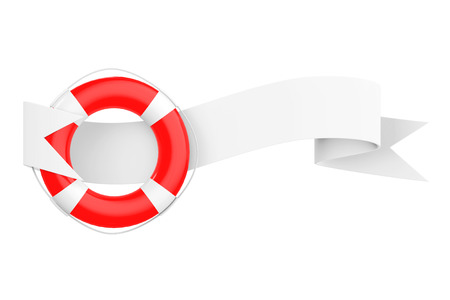 life bouy: Life Bouy with Ribbon Banner on a white background. 3d Rendering.