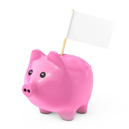 Pink Piggy Bank Style Money Box with Blank Flag for Your Text on a white background. 3d Rendering. Stock Photo