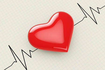 Red Heart on a Cardiogram Background extreme closeup. 3d Rendering.