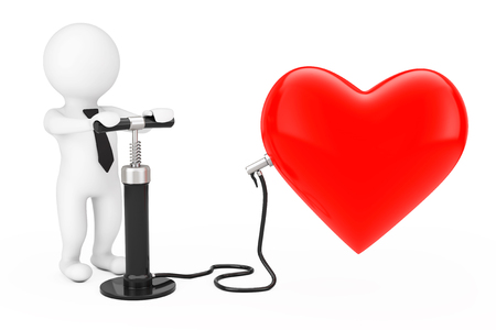 3d Person with Black Hand Air Pump inflates Red Heart Balloon on a white background. 3d Rendering