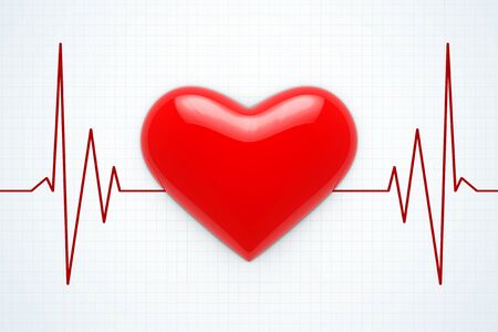 fibrillation: Red Heart on a Cardiogram Background extreme closeup. 3d Rendering.