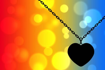 Heart Medallion on chain on an abstract background as backlight. 3d Rendering Stock Photo