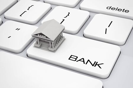 financial institutions: Bank Building over Computer Keyboard with Bank Sign extreme closeup. 3d Rendering.