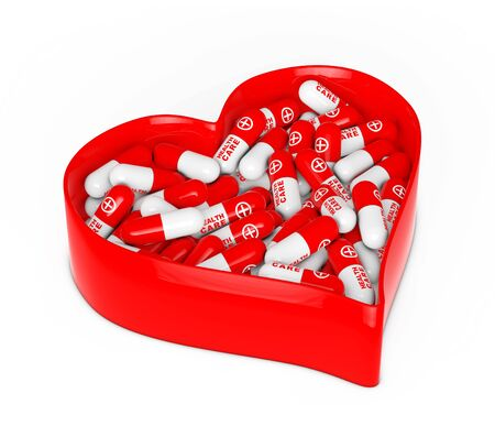 Red Heart Box with Medical Pills on a white background. 3d Rendering. Stock Photo
