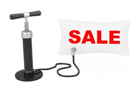 Black Hand Air Pump Inflates Balloon with Sale Sign on a white background. 3d Rendering