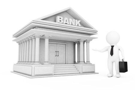bargains: 3d Businessman Characters Inviting in Bank Building on a white background. 3d Rendering.