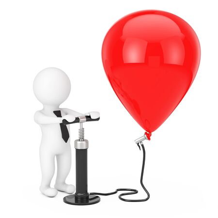 3d Person Businessman with Black Hand Air Pump inflates Red Balloon on a white background. 3d Rendering
