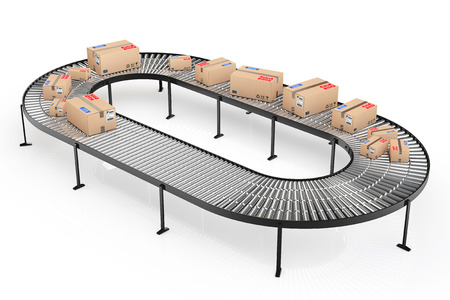 Parcels Transportation System Concept. Cardboard Boxes on Conveyor in Warehouse on a white background. 3d Rendering