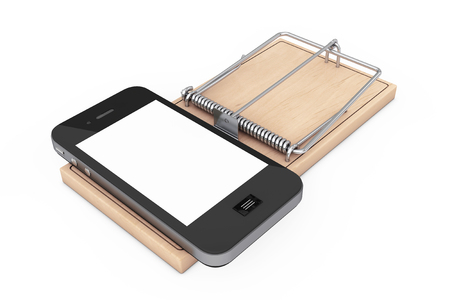 Social Media Addiction Concept. Mobile Phone over Wooden Mousetrap on a white background. 3d Rendering.