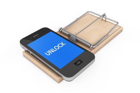 Mobiele telefoon Security Concept. Mobiele telefoon met Unlock Meld je dan Houten Mousetrap op een witte achtergrond. 3D-rendering.