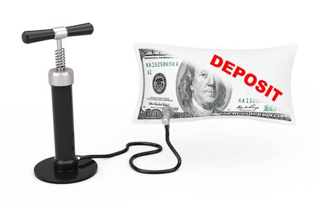 Black Hand Air Pump Inflates US Dollars Balloon with Deposit Sign on a white background. 3d Rendering Banco de Imagens