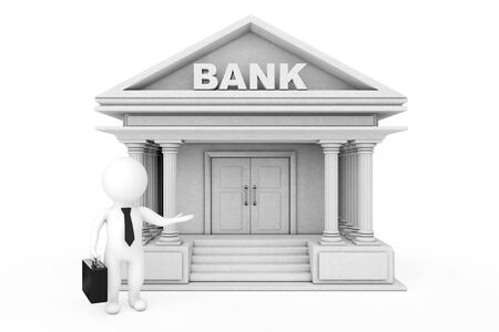 invite congratulate: 3d Businessman Characters Inviting in Bank Building on a white background. 3d Rendering.