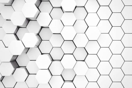 metalic design: Background of Metal White Hexagon extreme closeup. 3d Rendering.