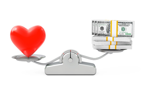 Heart with Money Balancing on a Simple Weighting Scale on a white background. 3d Rendering.