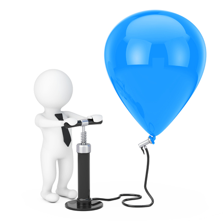 biz: 3d Person Businessman with Black Hand Air Pump inflates Blue Balloon on a white background. 3d Rendering Stock Photo