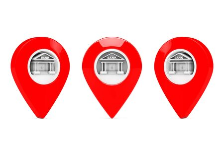 financial position: Red Map Pointers with Bank Target on a white background. 3d Rendering Stock Photo