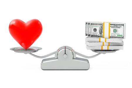 prostituta: Corazón con el dinero que balancea en una escala de ponderación simple sobre un fondo blanco. Representación 3D.