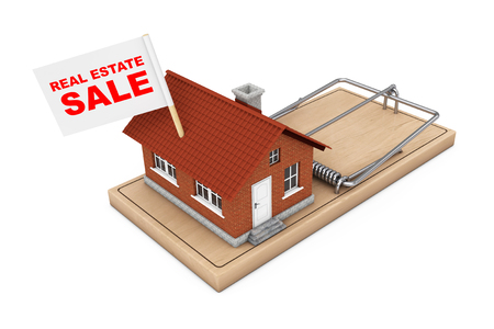 Real Estate Sale Concept. House Building with Real Estate Sale Flag over Wooden Mousetrap on a white background. 3d Rendering. Stock Photo