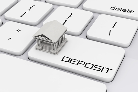 financial institutions: Bank Building over Computer Keyboard with Deposit Sign extreme closeup. 3d Rendering. Stock Photo