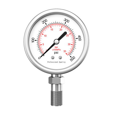 Pressure Gauge Manometer on a white background. 3d Rendering.