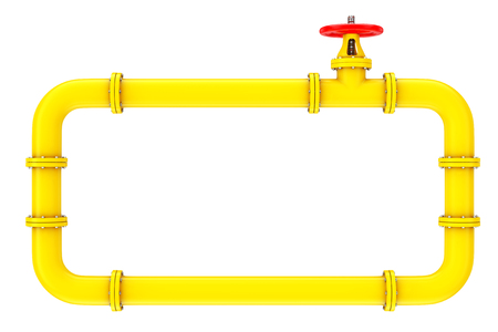 Gas Pipes and Valve on a white background. 3d Rendering Stock Photo