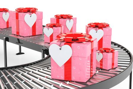 Gift Delivery Concept. Ornate with Hearts Paper Gift Box and Heart Tag on Conveyor in Warehouse on a white background. 3d Rendering.