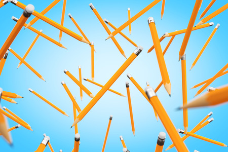 Many Pencils Flying on a blue background. 3d Rendering