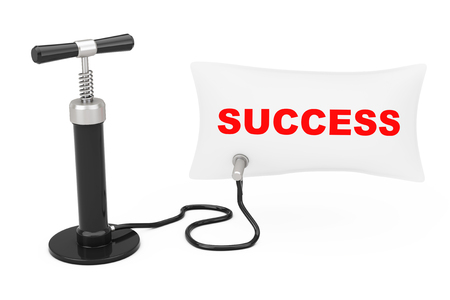 Black Hand Air Pump Inflates Balloon with Success Sign on a white background. 3d Rendering Banco de Imagens