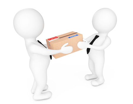 3d Small People Delivering a Cardboard Box to Another Person on a white background. 3d Rendering.