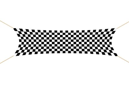 Racing Finish Checkered Banner with Ropes on a white background. 3d Rendering. Stock Photo