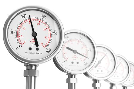 needle valve: Row of Pressure Gauge Manometers on a white background. 3d Rendering. Stock Photo