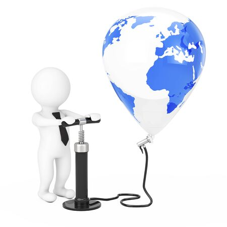 3d Person Businessman with Black Hand Air Pump inflates Earth Globe Balloon on a white background. 3d Rendering