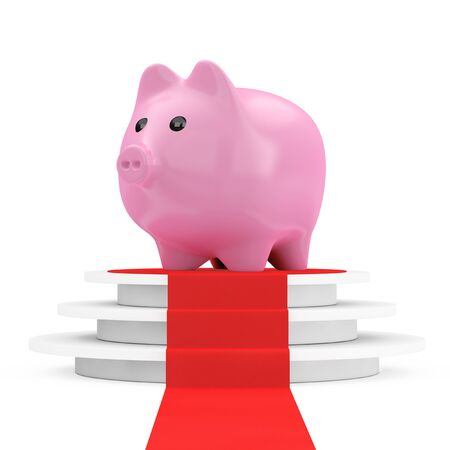 Save Money Concept. Piggy Bank over Winner Podium with Red Carpet on a white background. 3d Rendering Stock Photo