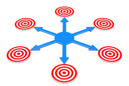Blue Arrows as Different Ways to Targets on a white background. 3d Rendering.