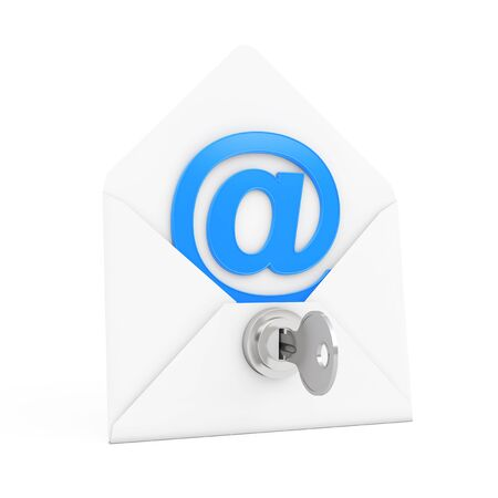 keylock: Security Concept. E-mail Sign in Envelope with Key and Keylock on a white background. 3d Rendering. Stock Photo