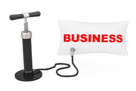 Black Hand Air Pump Inflates Balloon with Business Sign on a white background. 3d Rendering Banco de Imagens