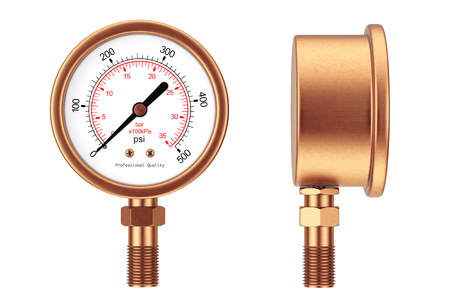 needle valve: Pressure Gauge Manometer on a white background. 3d Rendering.
