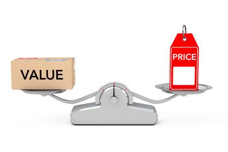Preisschild mit Wert-Box Balancing auf eine einfache Gewichtung Skala auf einem weißen Hintergrund. 3D-Rendering