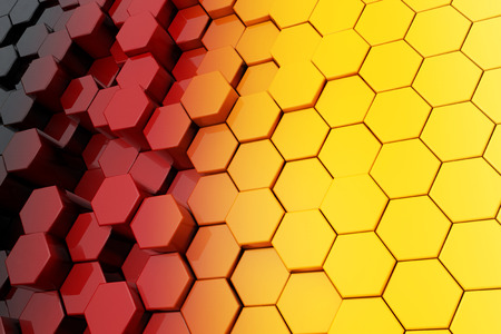 Background of Metal Multicolour Hexagon extreme closeup. 3d Rendering.