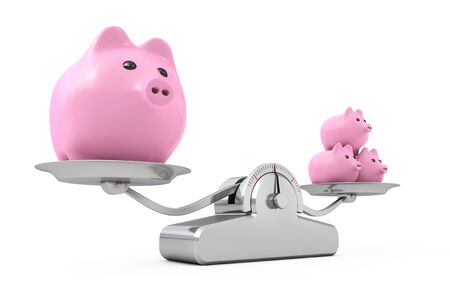 Piggy Banks over Simple Balance Weighting Scale on a white background. 3d Rendering.