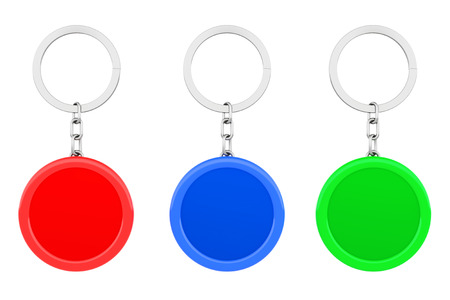 key ring: Blank Multicolour Round Metal Key Chain with Key Ring on a white background. 3d Rendering Stock Photo